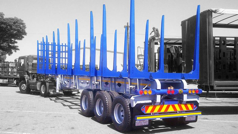 Rear of tri axle timber trailer